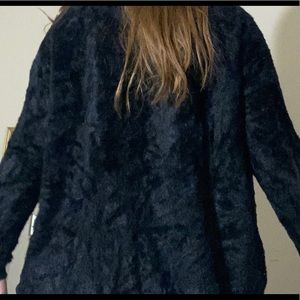Forever 21 Sweaters - Black Furry Cardigan